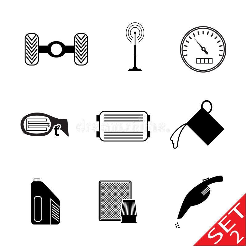 ustawiającej ikony 2 samochodowej część ilustracji