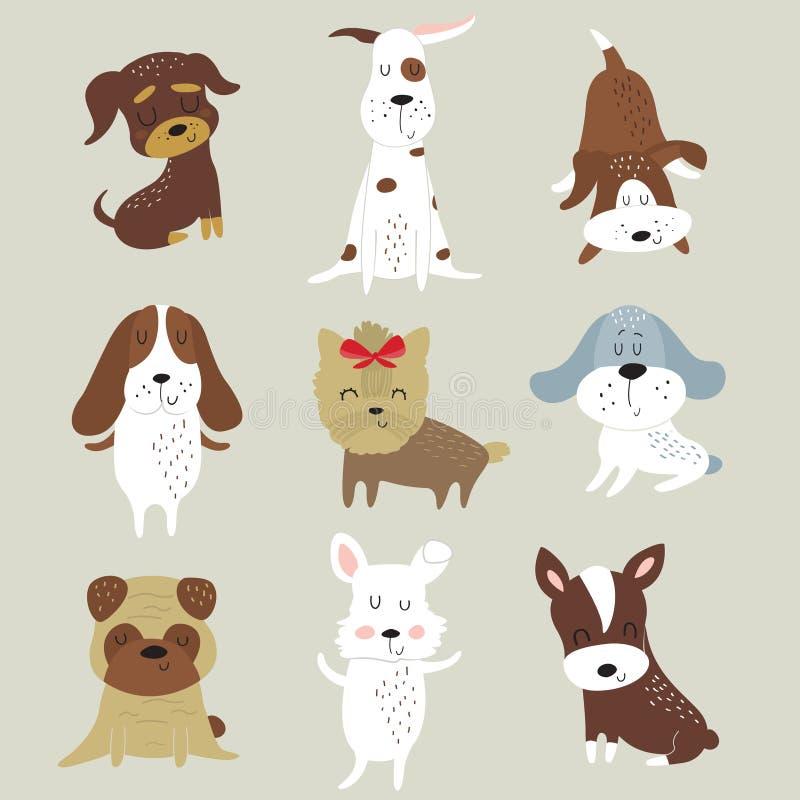 ustawiający śliczni psy ilustracja wektor