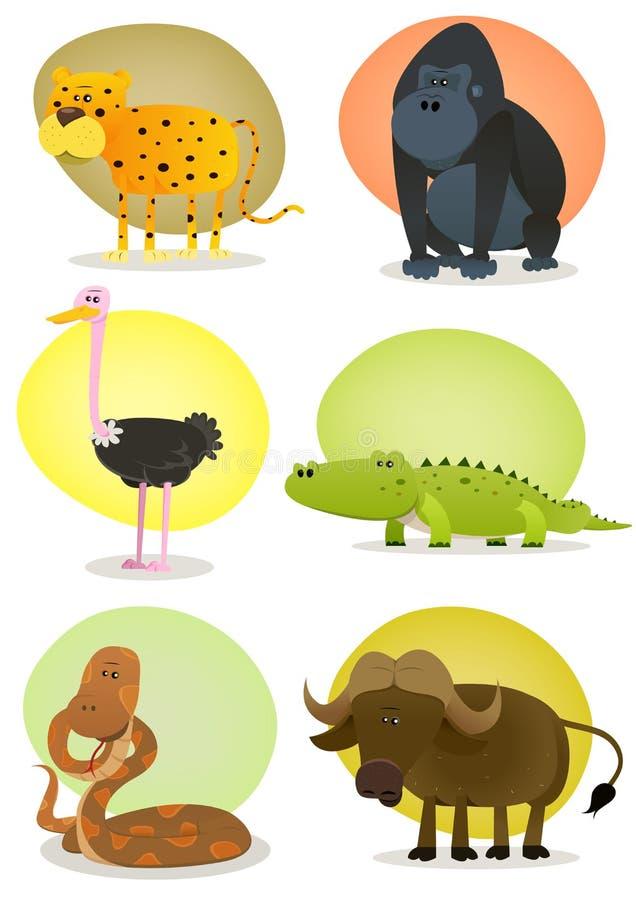 Ustawiający afrykańscy Dzikie Zwierzęta ilustracja wektor
