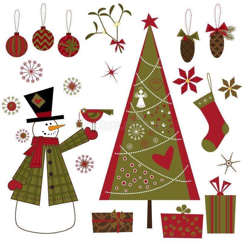 ustawiający Boże Narodzenie elementy ilustracja wektor