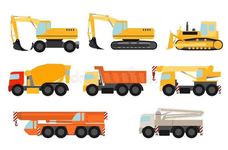 Ustawiający budowa pojazdy ilustracja wektor