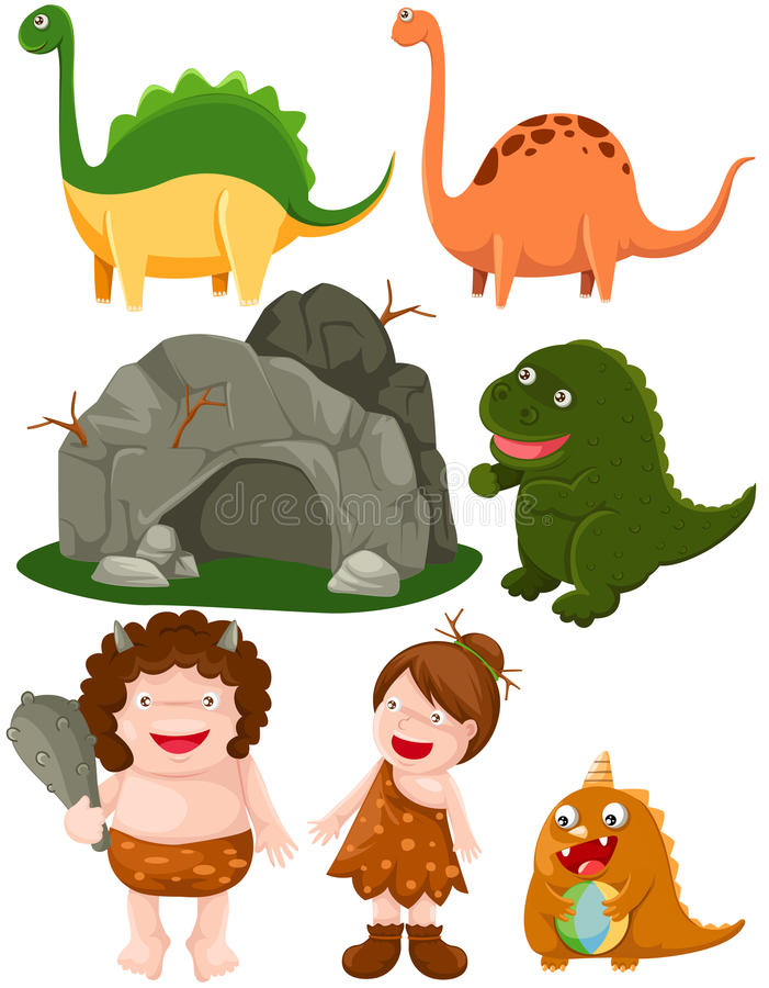 ustawiający caveman dinosaury ilustracji