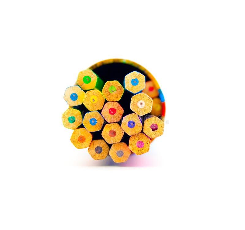 ustawiający colour pudełkowaci ołówki fotografia stock