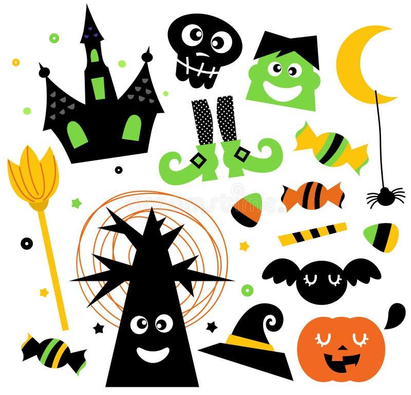 Ustawiający halloweenowi elementy ilustracja wektor