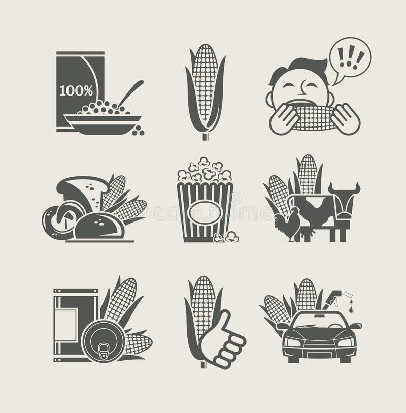 ustawiający ikona kukurydzani produkty ilustracji