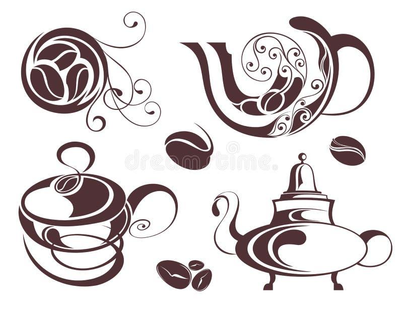 ustawiający kawowi elementy royalty ilustracja