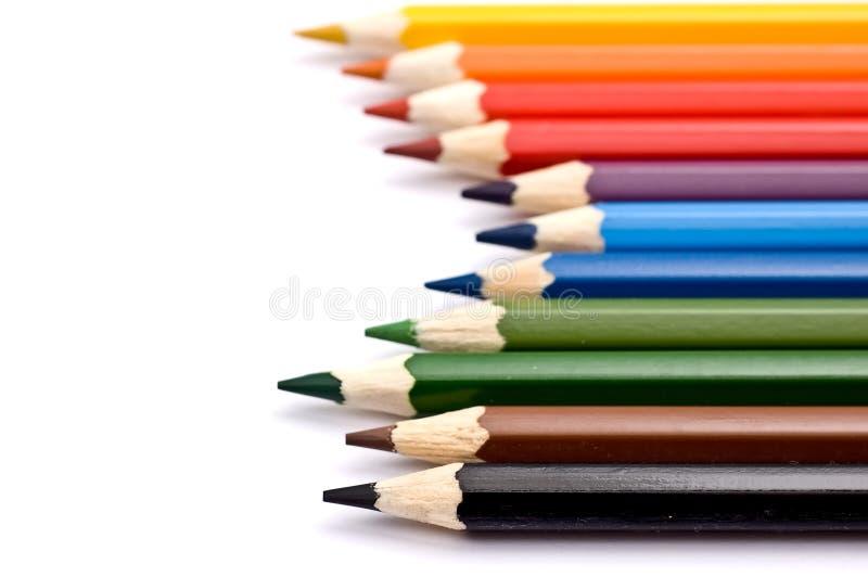 ustawiający kolorowi ołówki fotografia stock