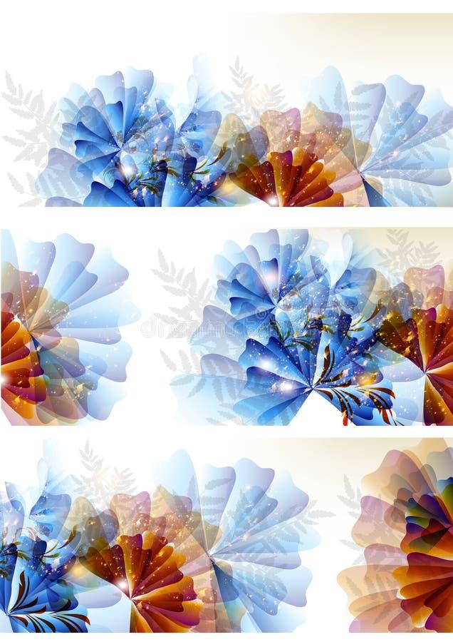 Ustawiający kwiatów abstrakcjonistyczni kolorowi tła ilustracja wektor
