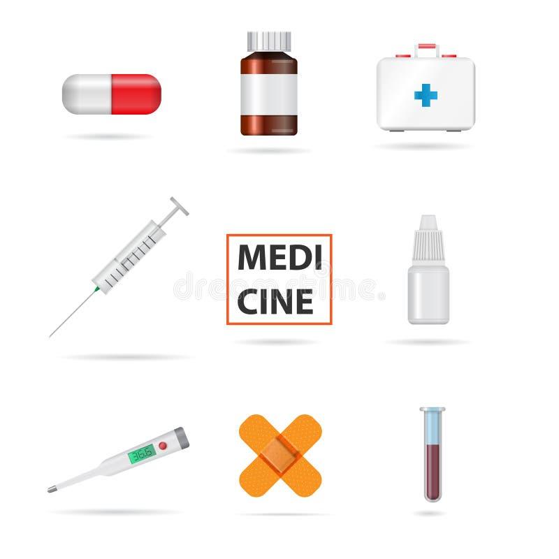 ustawiający medyczni przedmioty również zwrócić corel ilustracji wektora obrazy royalty free