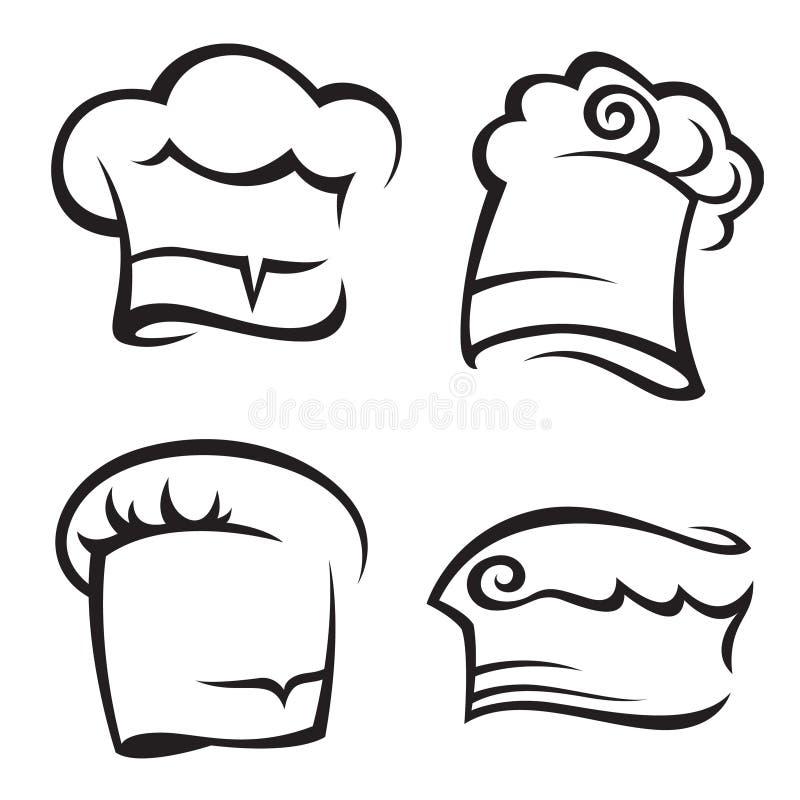 ustawiający szef kuchni kapelusze ilustracji