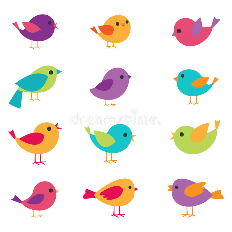 Ustawiający wektorowi Ptaki ilustracji