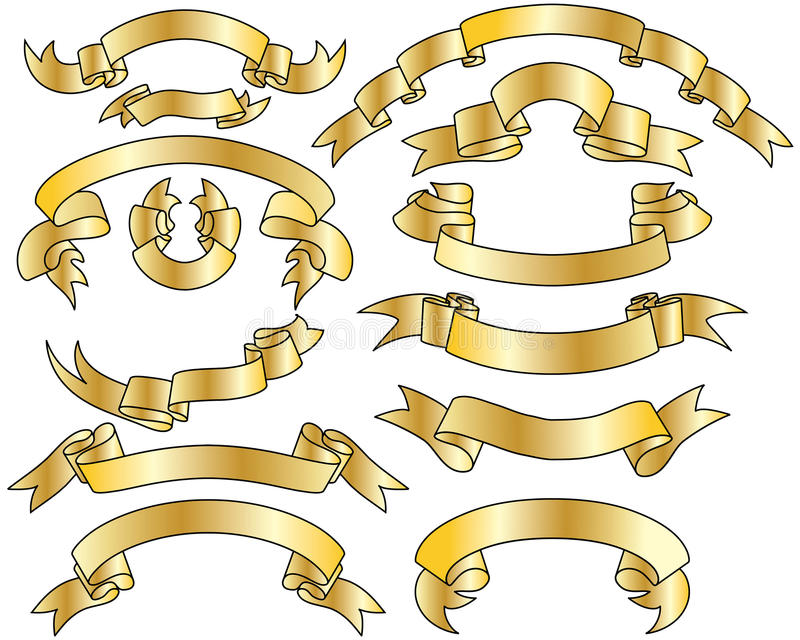 ustawiający złociści faborki ilustracja wektor