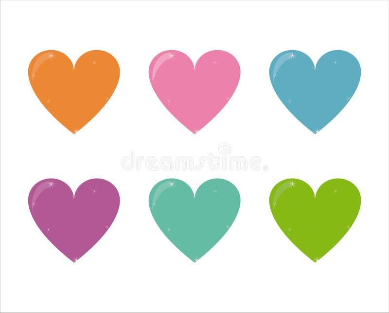 ustawiających serc 6 ikon ilustracja wektor