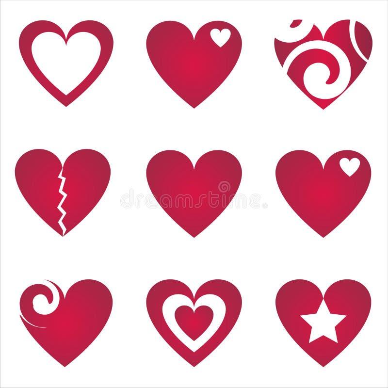 ustawiających serc 9 ikon ilustracji