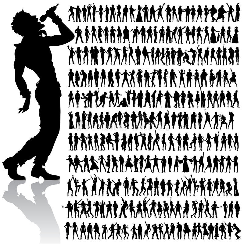 ustawiających tanów śpiewów duży ludzie ilustracja wektor