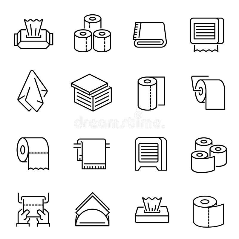 Ustawione liniowe ikony wektora papieru toaletowego i kartonu ilustracji