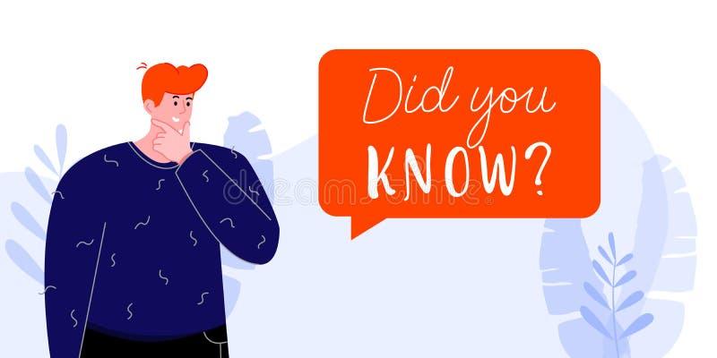 Usted conocía el ejemplo colorido del vector con la burbuja de pensamiento del hombre y del discurso libre illustration