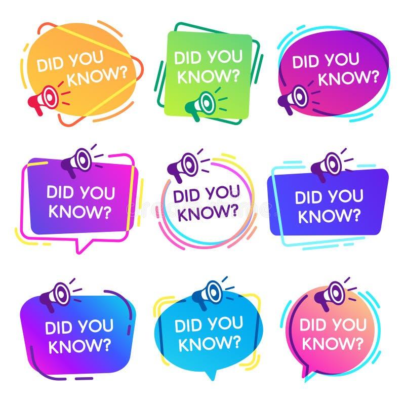 Usted conocía etiquetas Burbujas interesantes del discurso de los hechos, etiqueta de la base de conocimiento y vector aislado ba ilustración del vector