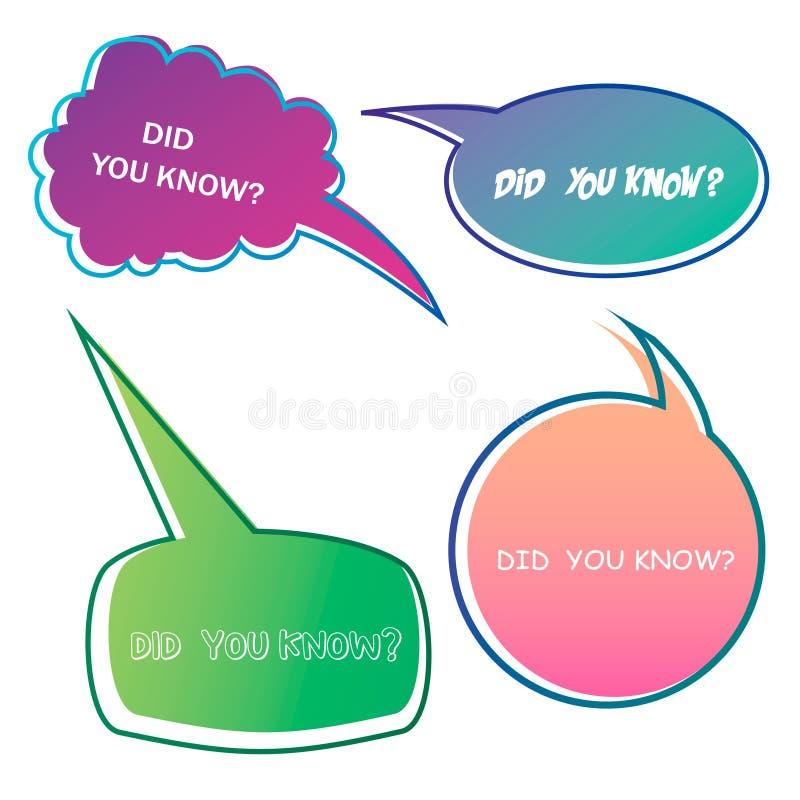 Usted conoc?a etiquetas Burbujas interesantes del discurso de los hechos, etiqueta de la base de conocimiento y bandera social de ilustración del vector