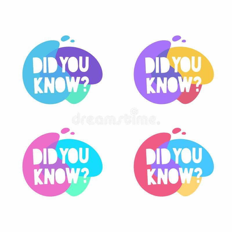 Usted conoc?a la burbuja del discurso Sistema de insignias coloridas del vector Márketing, publicidad, banderas del negocio stock de ilustración