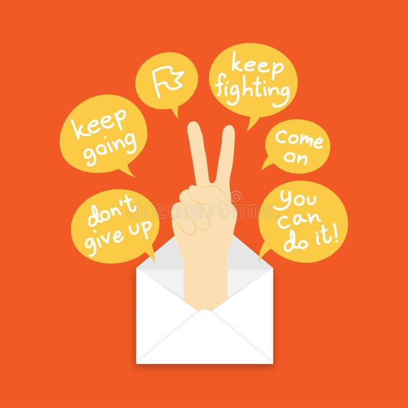 Usted consiguió idea del concepto del correo guarda el luchar de estallido del lenguaje de signos de la mano para arriba del ejem libre illustration