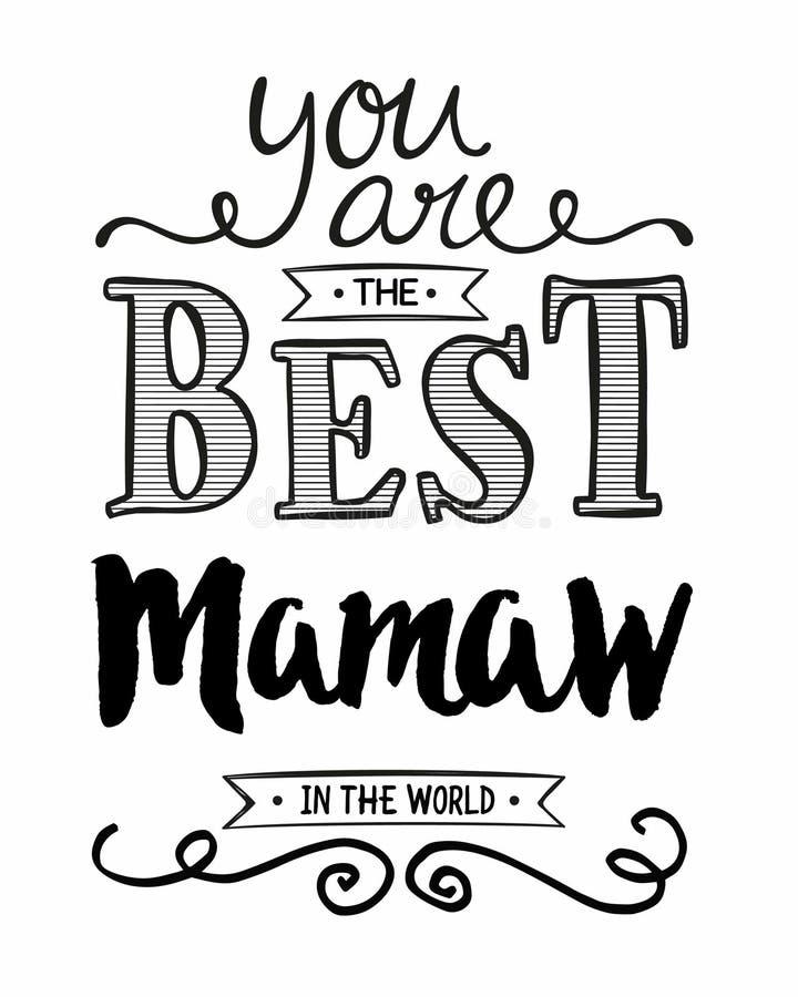 Usted es el mejor Mamaw del mundo stock de ilustración