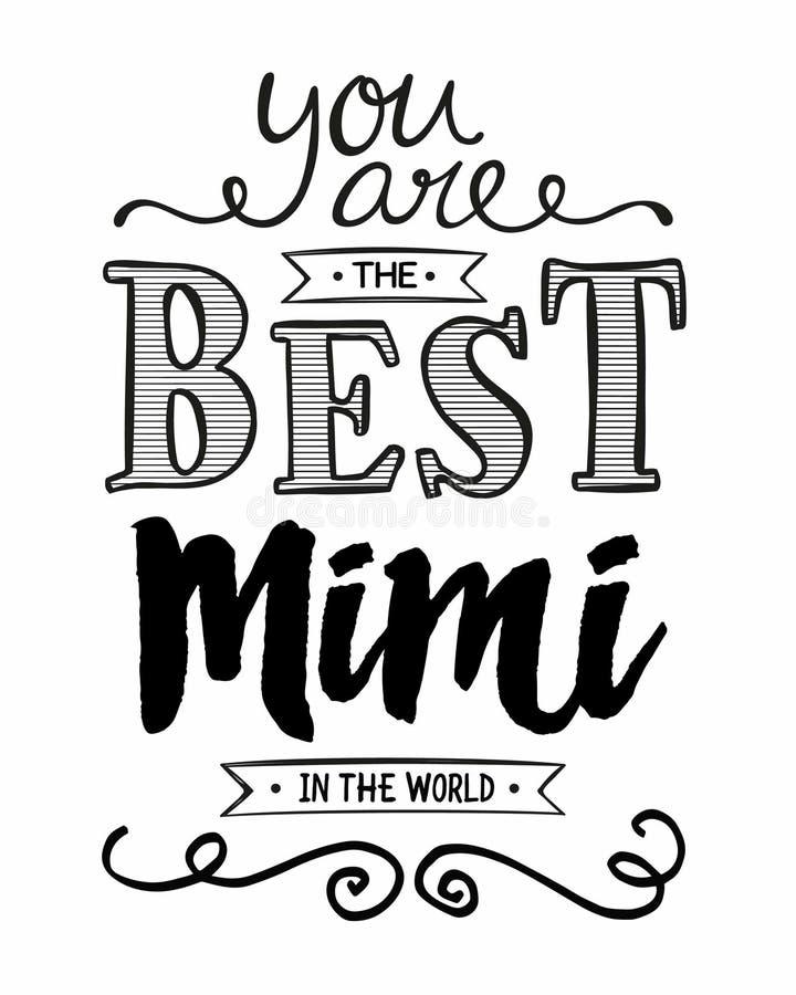 Usted es el mejor Mimi del mundo ilustración del vector