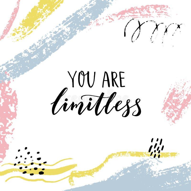 Usted es ilimitado Cita encouraging Refrán de motivación, letras del cepillo en fondo abstracto con el cepillo en colores pastel stock de ilustración