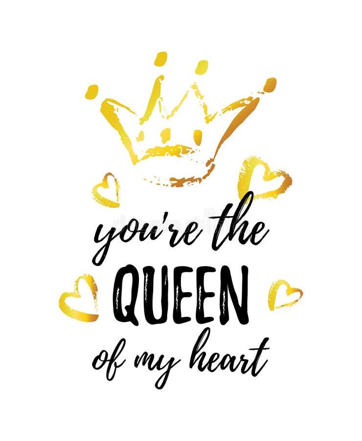 Usted es la reina de mi tarjeta de felicitación del corazón Corona y corazones dibujados mano stock de ilustración