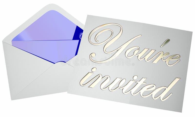 Usted es mensaje abierto invitado de la nota del evento del partido del sobre de la invitación stock de ilustración