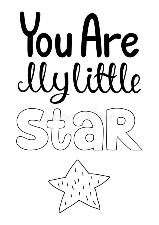 Usted es mi pequeña cartel dibujado de la estrella mano en estilo escandinavo stock de ilustración