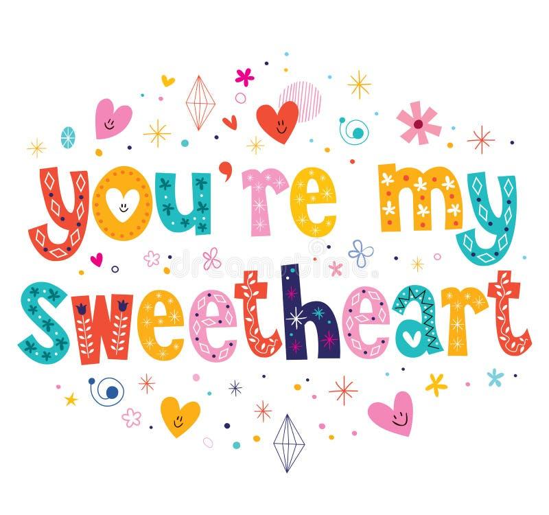 Usted es mi tipografía del amor que pone letras al texto decorativo stock de ilustración
