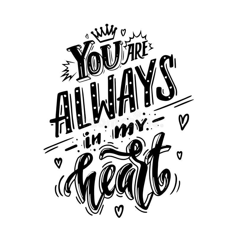 Usted está siempre en mi corazón ilustración del vector