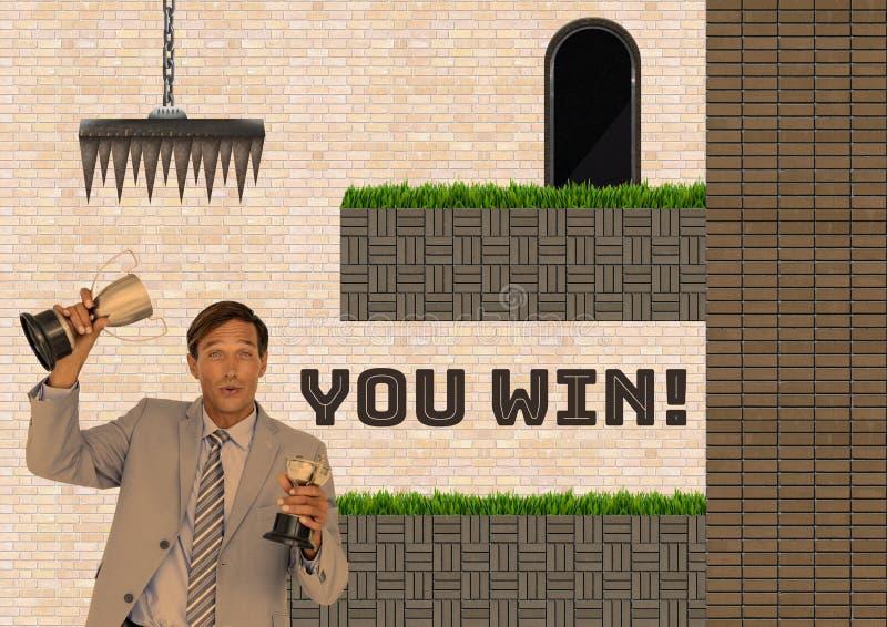 Usted gana el texto y al hombre en nivel y trampas del juego de ordenador fotos de archivo