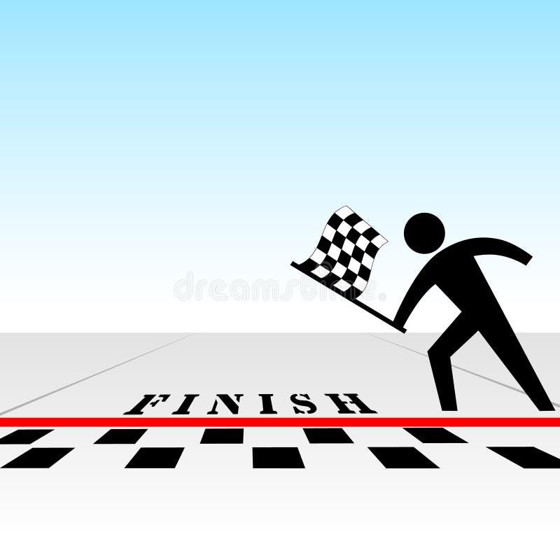 Usted gana la carrera y consigue el indicador checkered en la meta libre illustration
