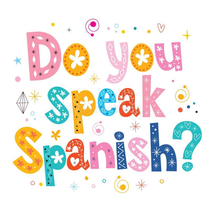 Usted habla el texto decorativo español de las letras libre illustration