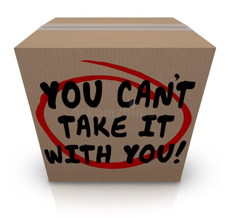 Usted linado le toma con usted palabras que la parte de la caja de cartón dona stock de ilustración