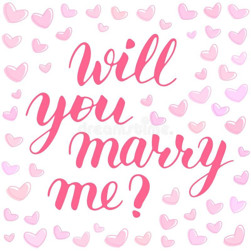 Usted me casará para dar las letras exhaustas del vector, frase rosada aislada para proponer y para hacer estallar la pregunta, c ilustración del vector