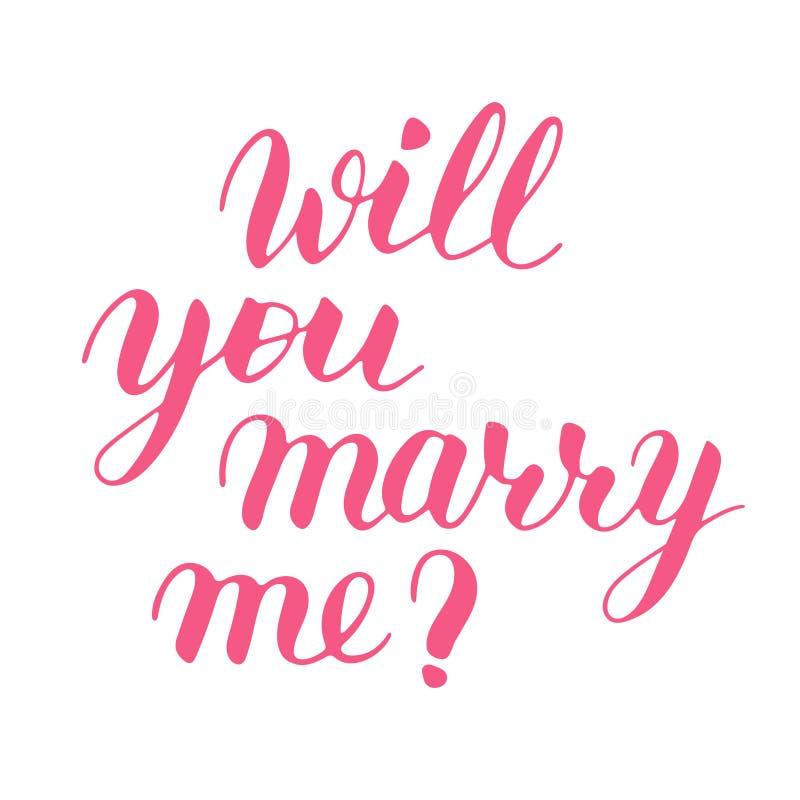 Usted me casará para dar las letras exhaustas del vector La muestra rosada aislada para propone y hace estallar la pregunta sin f ilustración del vector