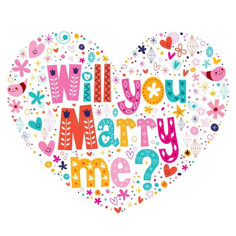 Usted me casará tipografía en forma de corazón que pone letras al texto decorativo para diseñar ilustración del vector