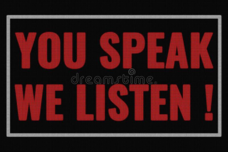 Usted nos habla escucha las palabras en la pantalla oscura imagen de archivo libre de regalías
