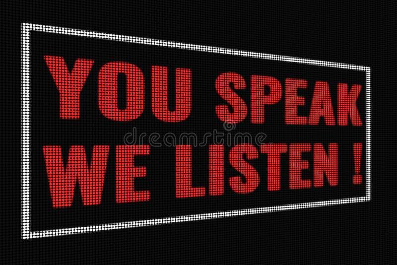 Usted nos habla escucha las palabras rojas en la pantalla oscura fotografía de archivo