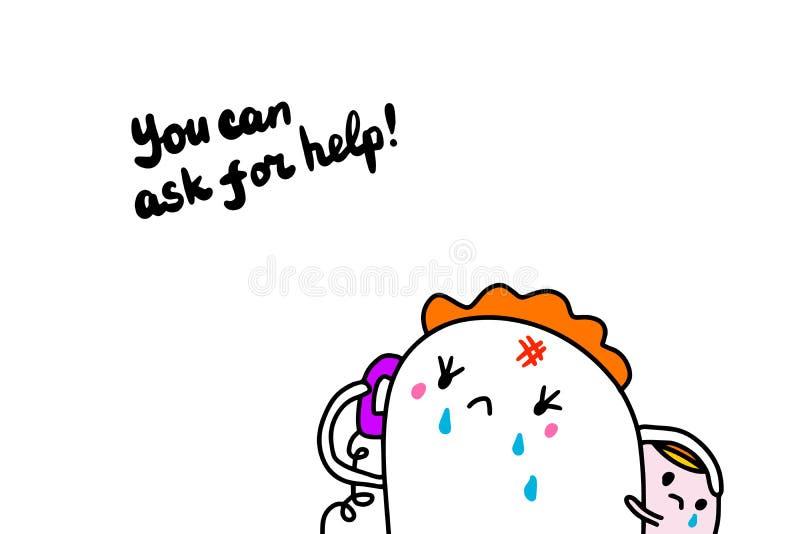 Usted puede pedir el ejemplo exhausto de la mano de la ayuda en estilo de la historieta libre illustration