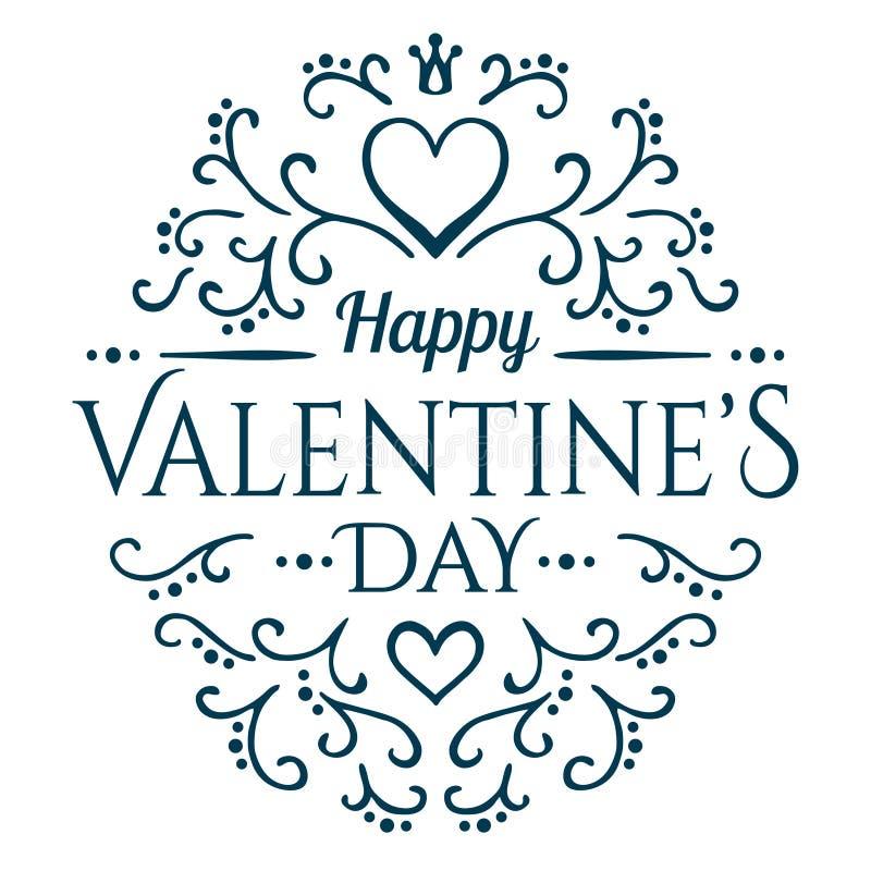 Usted será mi tarjeta del día de San Valentín con el ornamento floral ilustración del vector