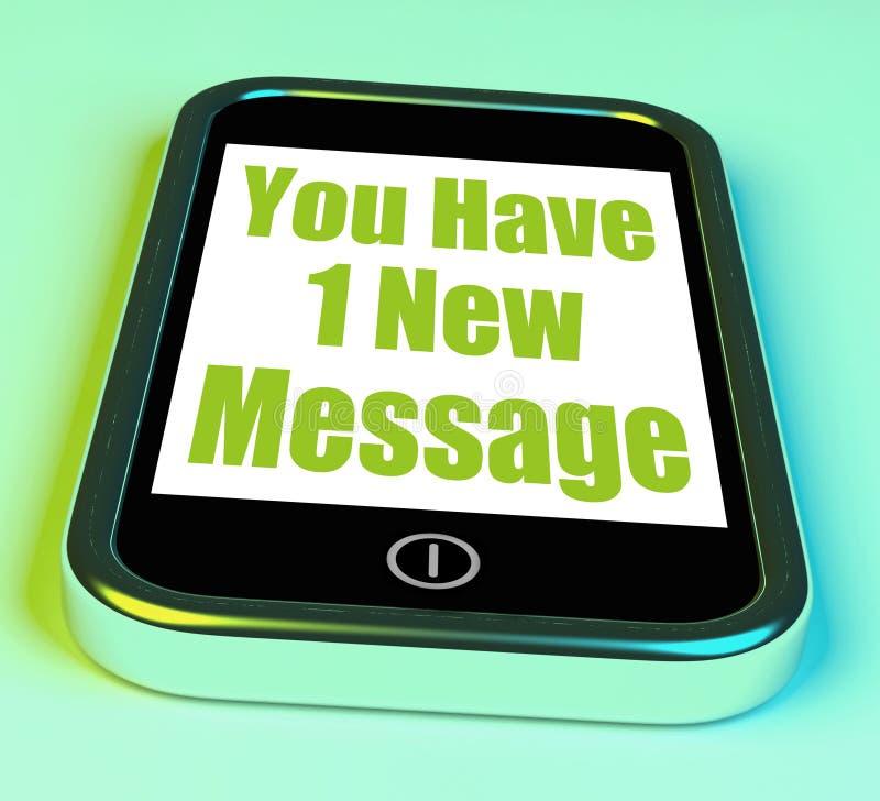 Usted tiene 1 nuevo mensaje en correo de los medios del teléfono nuevo stock de ilustración