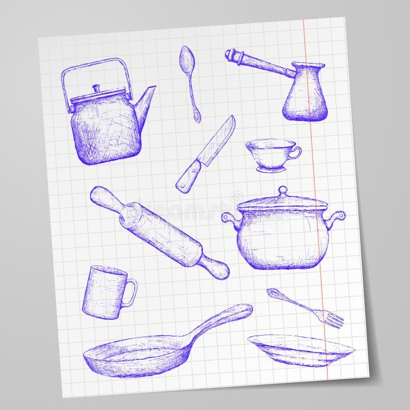 Ustensiles de cuisine dessinés sur une feuille de papier Image de griffonnage barre illustration libre de droits