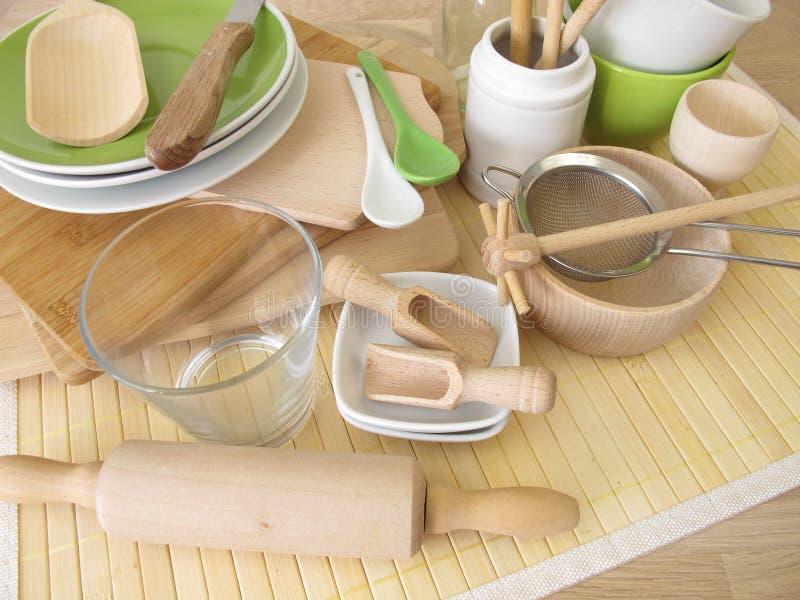 Ustensiles de cuisine sans plastique photographie stock