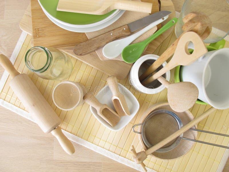 Ustensiles de cuisine sans plastique photographie stock libre de droits