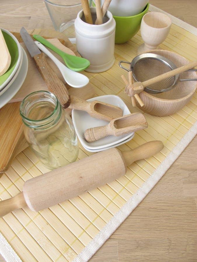 Ustensiles de cuisine sans plastique photo stock
