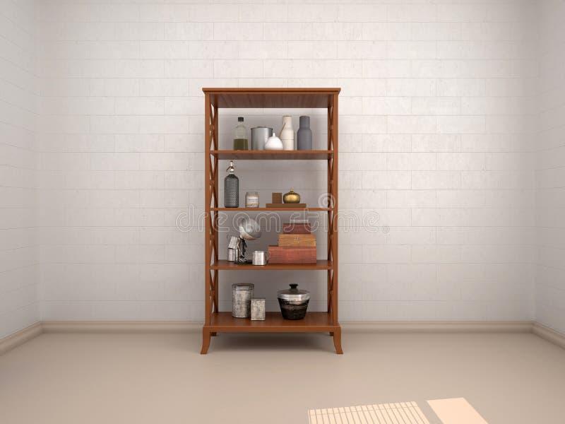 ustensiles de cuisine sur les étagères en bois illustration stock